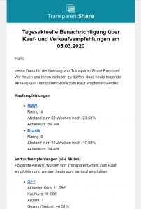 TransparentShare - E-Mail notification Levermann strategy