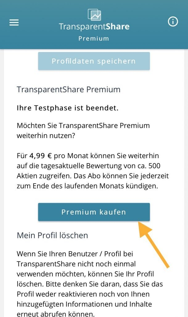 Transparentshare - How can I buy Premium in the Appe app?