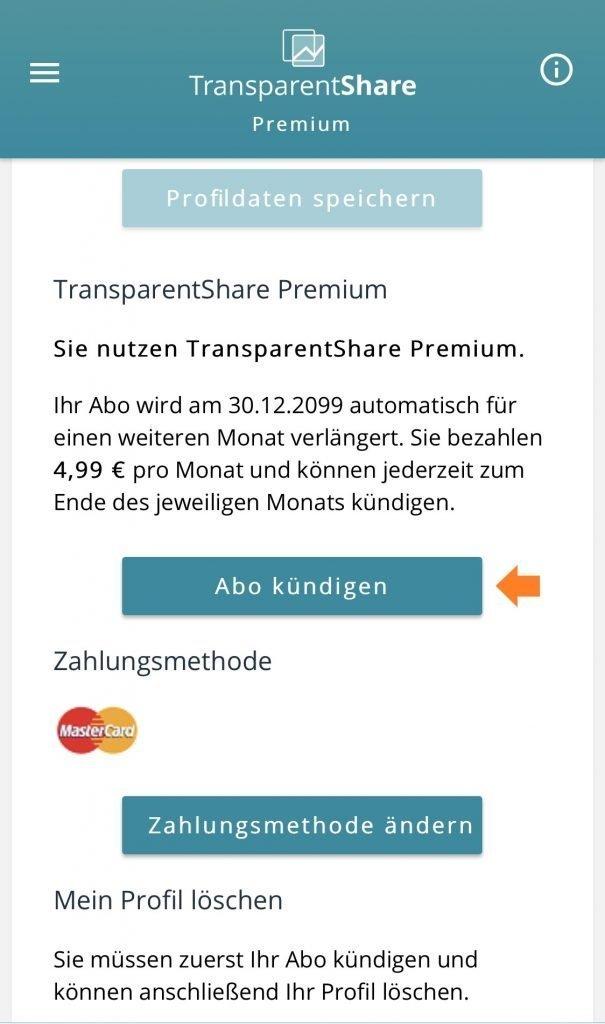 TransparentShare - Hilfe Abo Kündigen